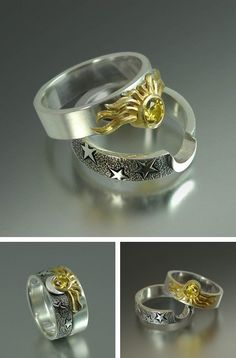 """Moon of my life"", ""My sun and stars"" ring set"