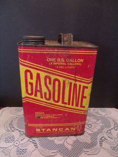 Vintage Gasoline Tin Can, 1 Gallon, Great for the Man Cave/ Garage, (# My Childhood Memories, Sweet Memories, Man Cave Bathroom, Garage Bathroom, Man Cave Garage, Garage Bar, Vintage Tins, Vintage Dishware, Vintage Stuff