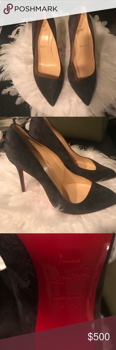 Christian Louboutin Corneille Grey Suede Pumps Beautiful pumps for date night or chic work outfits! Ready to wear? Click to buy! Bottoms have been re-soled as an added luxury! Christian Louboutin Shoes Heels