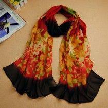 1PC Women Gradual Change Floral Long Chiffon Wraps Shawl Soft Scarves