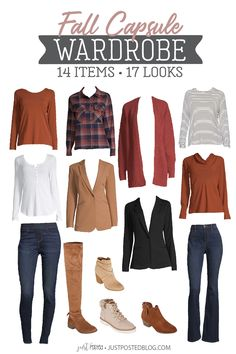Fall Capsule Wardrobe - 14 items for 17 different Looks! This is a perfect capsule for fall and Thanksgiving! So many pieces you can wear in so many different ways.