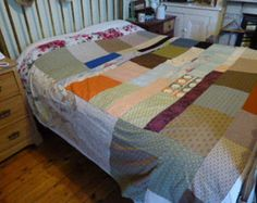 Vintage/retro French colourful handmade patchwork quilt bedspread counterpane