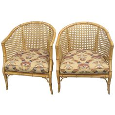 A Pair of Caned,  Faux-Bamboo Tub Chairs | From a unique collection of antique and modern armchairs at http://www.1stdibs.com/furniture/seating/armchairs/