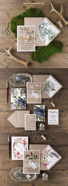 Rustic kraft paper wedding invitations #rusticweddinginvitations