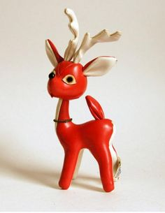 Vintage vinyl reindeer doll for Christmas decor on Etsy
