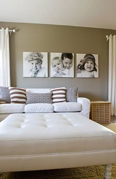 Cool way to display kids portraits on large wall space - love the no frame look.