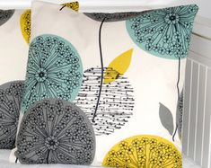 teal grey mustard yellow small throw decorative pillow cover, dandelion allium flower cushion cover 14 inch