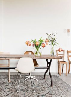 Dreamy dining space with mismatched chairs