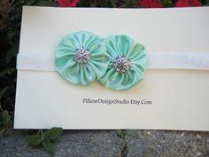 Flower girl headband -- mint flower head band for flower girls, bridesmaids with rhinestones, sparkle elastic. $6.99, via Etsy.