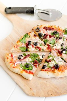 Greek Pizza - cooked on the grill, but could also be done in the oven.