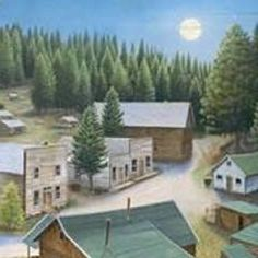 This piece portrays Garnet Ghost Town, in western Montana which was a mining town, but was abandoned in the early 1900s. It was named for the semi-precious gem called the garnet, which was the first i