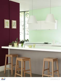 Kitchen set up Glidden Paint Colors, Design Bleu, Deco Cool, Trending Paint Colors, Color Lila, Colored Ceiling, Green Rooms, Kitchen Colors, Mint Kitchen
