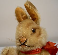 "1950's Steiff ""Niki"" Mohair Bunny Rabbit 5 75"" w Original Bow Fully Jointed 