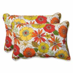 Margate Lily Over-sized Rectangular Throw Pillow (Set of 2)