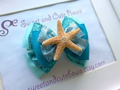 Ariel The Little Mermaid Hair Bow Attached to an alligator clip, a barrette, a pony tail holder or a headband
