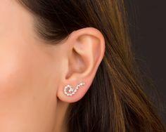 Sterling Silver Ear Climber earrings, Swirl Earrings, Ear Crawler, Ear Pins…