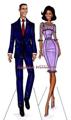 Hayden Williams Fashion Illustrations: The Obamas by Hayden Williams