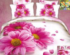 Pościele z bawełny w kolorze białym w różowe stokrotki
