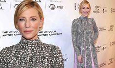 Cate Blanchett cuts a chic figure in elegant pleated frock in Tribeca