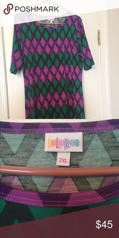 LuLaRoe Julia 2XL Emerald and Purple diamond pattern dress... gorgeous!!! Retail $45. Tag included but removed from garment. Never worn or washed. LuLaRoe Dresses Midi