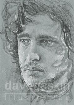 """3"""" x 4"""" sketch card of Kit Harington as John Snow in HBO's Game of Thrones"""