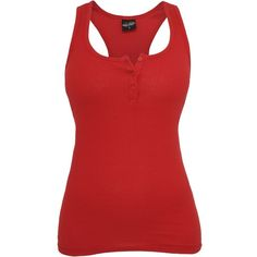 Urban Classics Ladies BUTTON Tank Top red ($15) ❤ liked on Polyvore featuring tops, shirts, tank tops, 10. tops., red tank, red tank top, slimming tank, slimming tops e red shirt