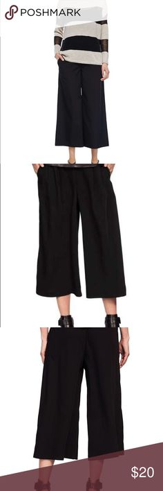 Black Cropped Wide Leg Pants Brand New Boutique Item, Size 14, Black Cropped Wide Leg Pants features a flat waistband in the front and back elastic, side pleats and pockets Trend Brokers Boutique Pants Ankle & Cropped