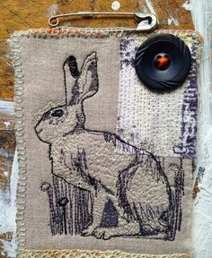 Little Hare Patchwork Pin: Free Motion Embroidery, Free Machine Embroidery, Machine Quilting, Embroidery Applique, Embroidery Stitches, Embroidery Patterns, Little Stitch, Thread Painting, Textile Artists