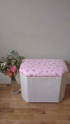 Small foot stool, stool, toybox, ottoman. Stylishly restored with a pretty rose material and freshly painted in a hard wearing egg shell in a soft white. Restored, upcycled, vintage furniture.