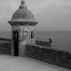The two sentry boxes @  #Castillo San Felipe del Morro with the devil's sentry box near the #sea guarding #oldsanjuan since 1539