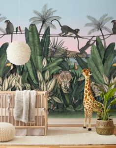 Bengal Sunrise Mural with Tigers and Monkeys inspired by The Jungle Book Hygge West slaapkamer inspiratie bedroom ideas kids bedroom kinder slaapkamer inspiratie kinder slaapkamer ideeen Jungle Bedroom, Jungle Nursery, Baby Bedroom, Jungle Baby Room, Western Nursery, Baby Room Boy, Baby Room Decor, Nursery Decor, Nursery Ideas