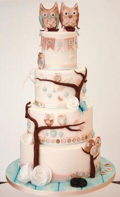 Vegan Owl Wedding cake by Samantha's Cake Design - http://cakesdecor.com/cakes/205016-vegan-owl-wedding-cake