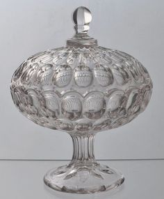 "EAPG Flint Glass ""Early Thumbprint "" pattern Covered Compote 1860, 8""H x 6.25""D"
