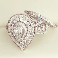 Diamond Wedding Rings, Diamond Rings, Pear Diamond, Gold Interior, Custom Packaging, Heart Ring, White Gold, Stone, Metal