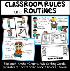 Classroom Rules, Routines, Flip Book, Sorting Cards, Anchor Charts and more. Classroom Organisation, Classroom Rules, Classroom Ideas, Organization, Class Rules, Anchor Charts, Sorting, Spelling, Back To School
