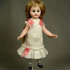 """Antique Dimity Dress for 7"""" inch French Mignonette or All Bisque Doll No.226 made by Carol H. Straus, 2015. carolstraus.com #silkandtrim SOLD"""