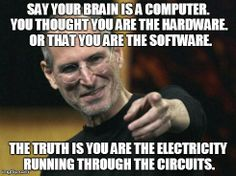 Say your brain is a computer. You thought you are the hardware.  Or that you are the software. The truth is you are the electricity running through the circuits.