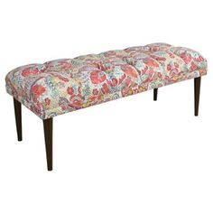 Check out this item at One Kings Lane! Colette Tufted Bench, Red Damask