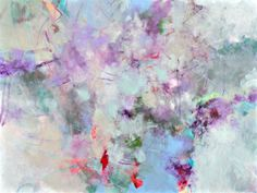 Lilacs and Dew  Kerri Blackman Large abstract painting on canvas, 30x40, expressionist, purple, green http://www.ugallery.com/acrylic-painting-lilacs-and-dew