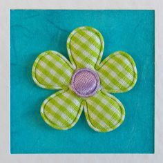 Birthday Card, girlfriend, for her, wife, mum, friend, daughter, sister, green gingham flower, turquoise, modern, recycled envelope, cute - pinned by pin4etsy.com