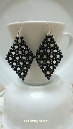 Check out this item in my Etsy shop https://www.etsy.com/listing/207889473/crystal-diamond-beaded-earring-handmade