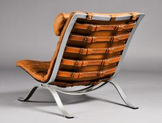 ARNE NORELL pair of vintage leather and steel lounge chairs image 2