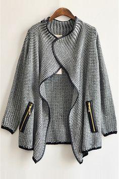 Cheap European Style Long Sleeves Zipper Design Regular Coat
