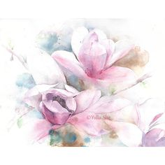 """Original Watercolor painting magnolia flowers home decor 11x14"""" ($65) ❤ liked on Polyvore featuring home, home decor, wall art, magnolia wall art, watercolour painting, water colour painting, watercolor wall art and watercolor painting"""