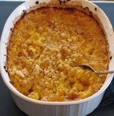 Scalloped Corn Casserole..... I use ritz crackers mixed with the corn instead....and I make a cracker topping for the top...melted butter and crackers in a pan until browned, then sprinkle on top....bake. : )