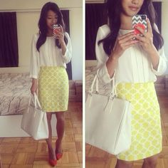 I would feel very put together in this look. The bright skirt adds color without drawing too much attention.