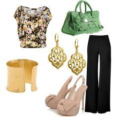 Business Casual, created by manderson3.polyvore.com. Love floral print tops!