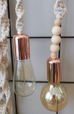 macrame lamp, dik en dun geknoopte variant. www.vintage-ropes.nl