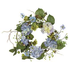 Add an inviting touch to your entryway or bring classic style to your kitchen with this lovely faux hydrangea wreath.   Product: Fau...