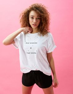 Ripped sports T-shirt with slogan. Discover this and many more items in Bershka with new products every week